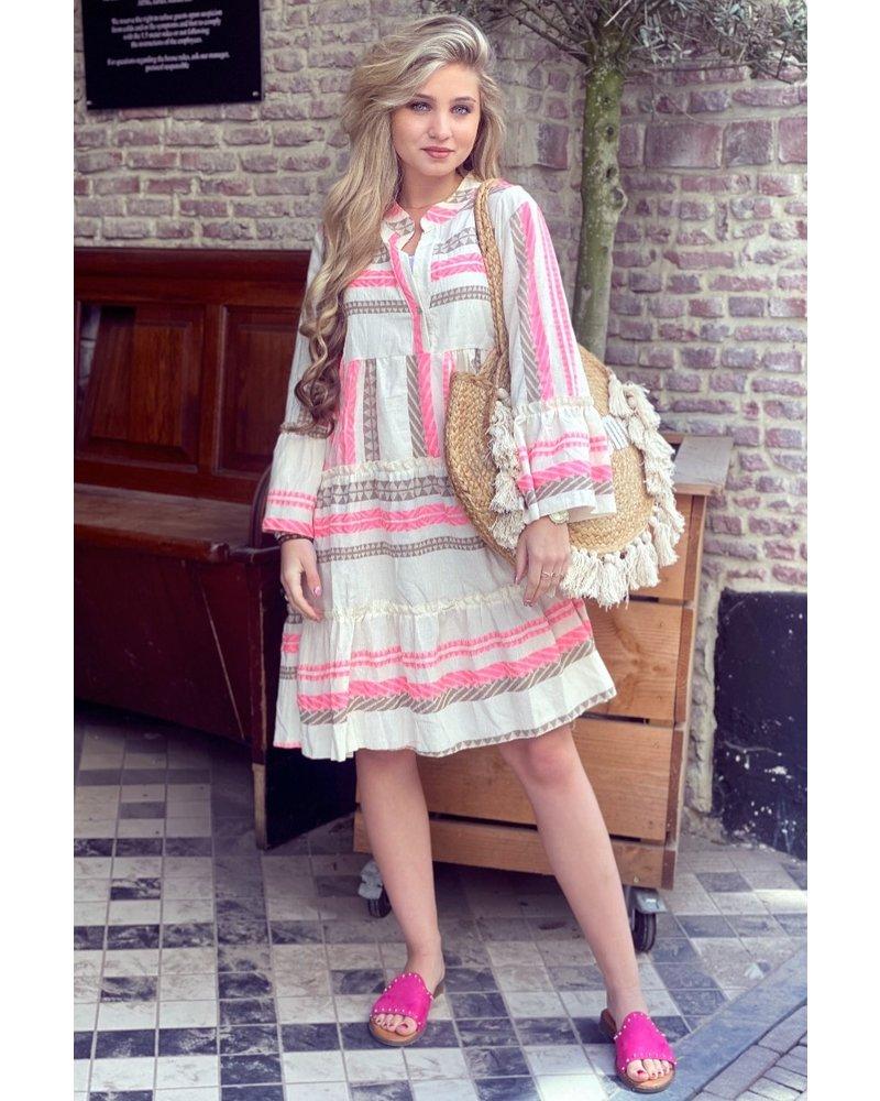 Noor Short Aztec Dress - Pink / Taupe