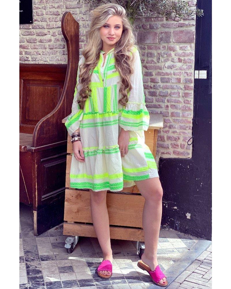 Noor Short Neon Aztec Dress - Green / Yellow