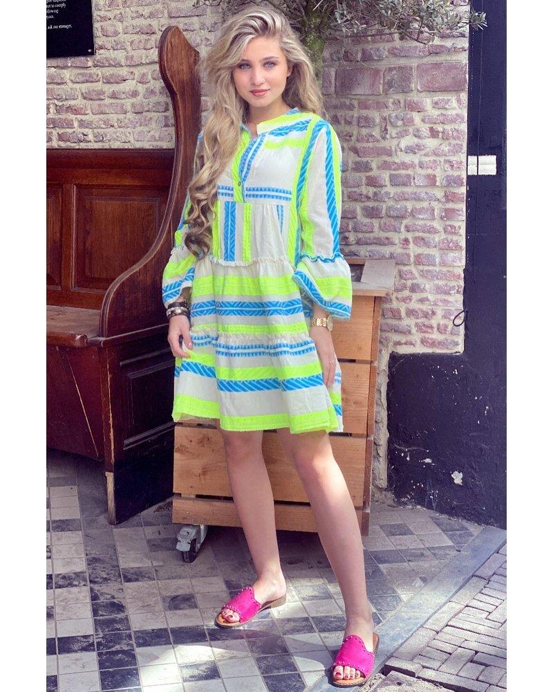 Noor Short Neon Aztec Dress - Blue / Yellow