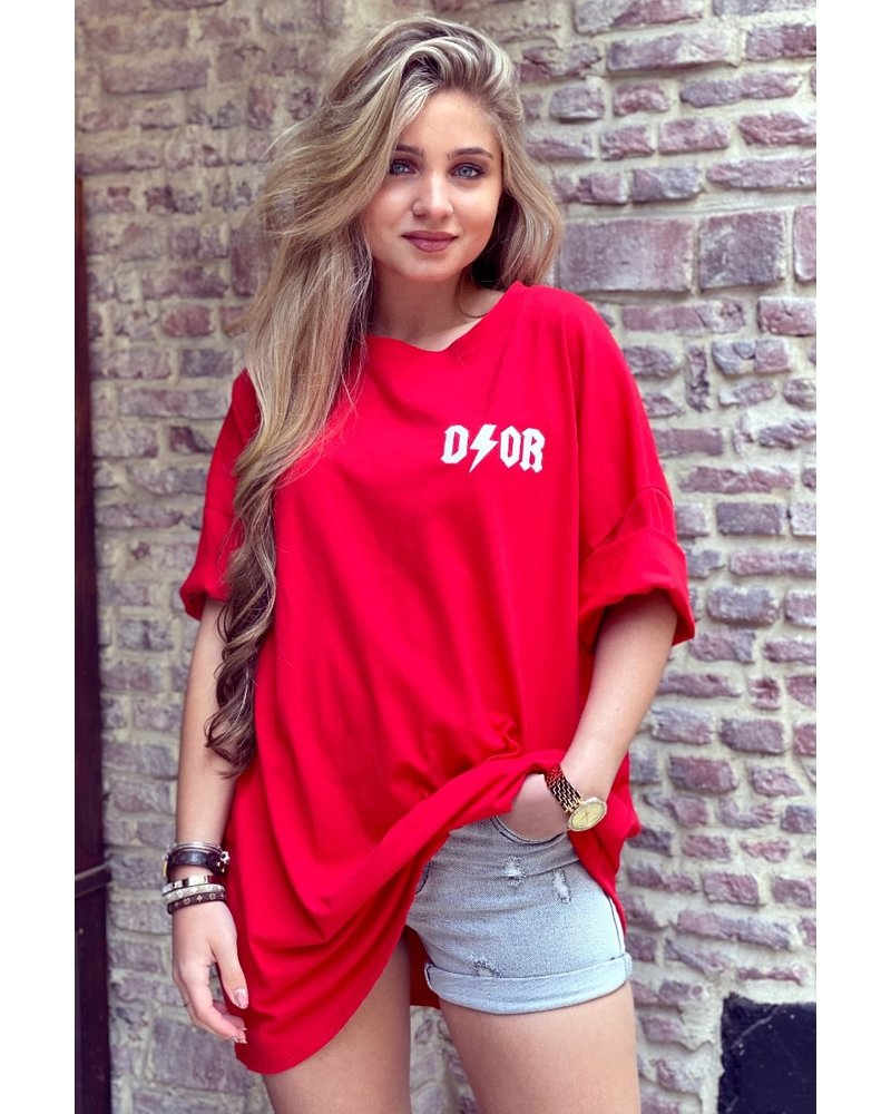 Oversized Flash T-shirt - Red