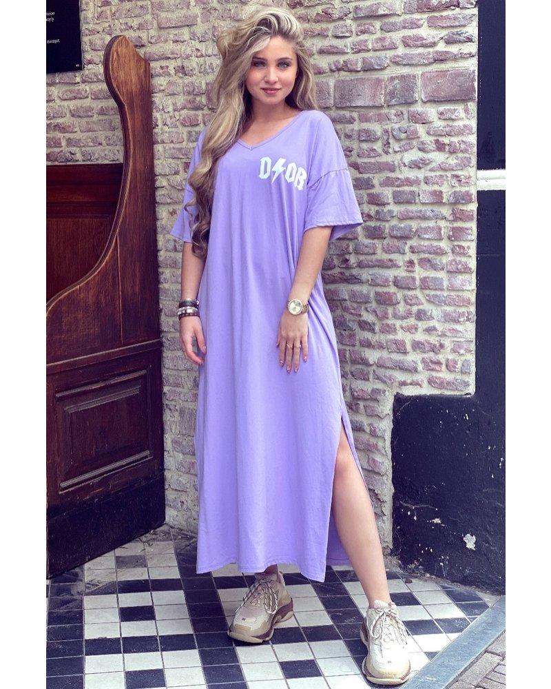 V Neck Flash Dress - Lilac