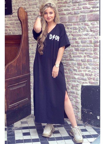 V Neck Flash Dress - Black