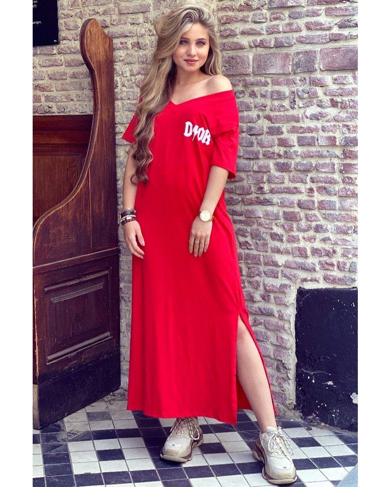 V Neck Flash Dress - Red