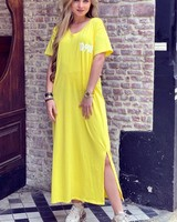 V Neck Flash Dress - Yellow