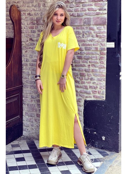 V Neck Flash Dress - Yellow