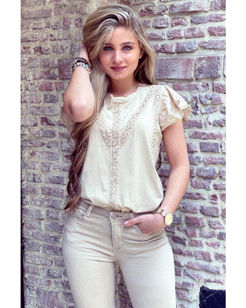 Hannah Short Sleeve lace top - Beige