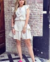 Fien Ruffle Dress - Beige