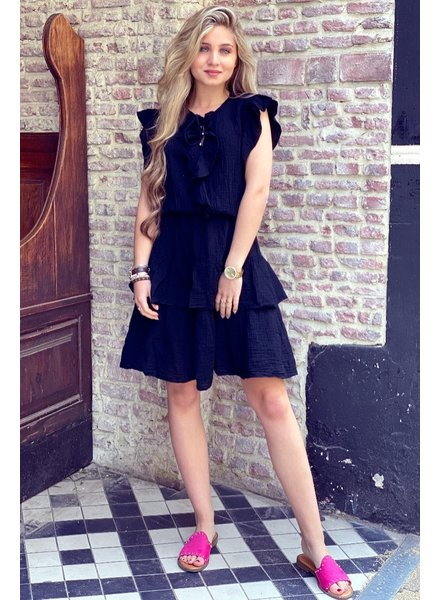 Fien Ruffle Dress - Black