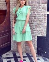 Fien Ruffle Dress - Lime