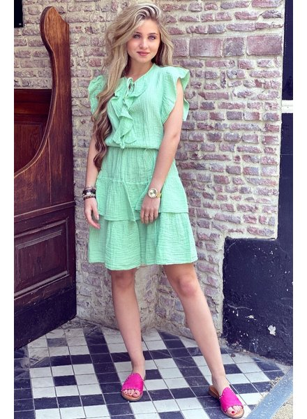 Fien Ruffle Dress - Lime