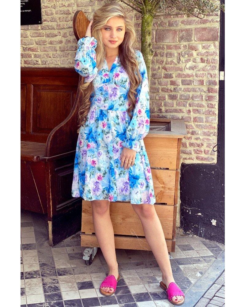 Charlotte Flower Dress -Blue