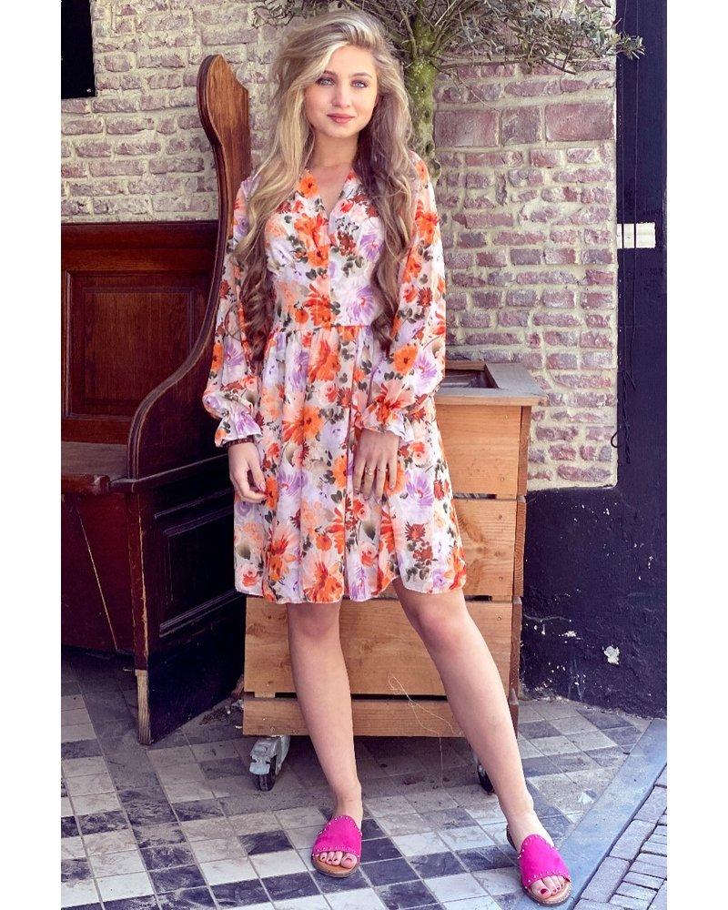 Charlotte Flower Dress - Orange