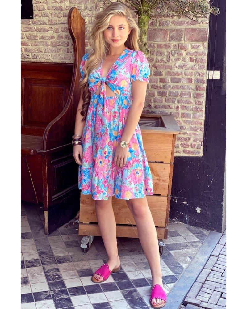Lara Flower Strik Dress - Blue / Pink