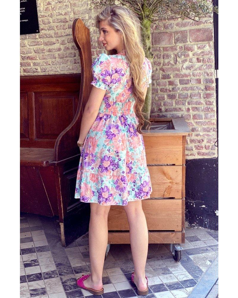 Lara Flower Strik Dress - Turquoise / Lilac