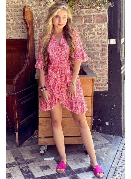 Nena Leopard Ruffle Dress - Red