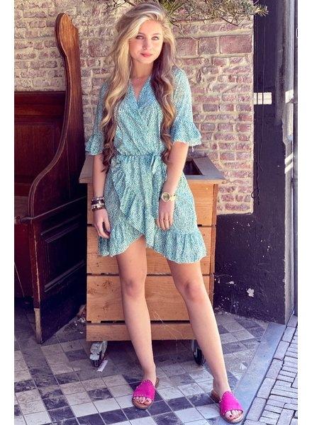 Nena Leopard Ruffle Dress - Green
