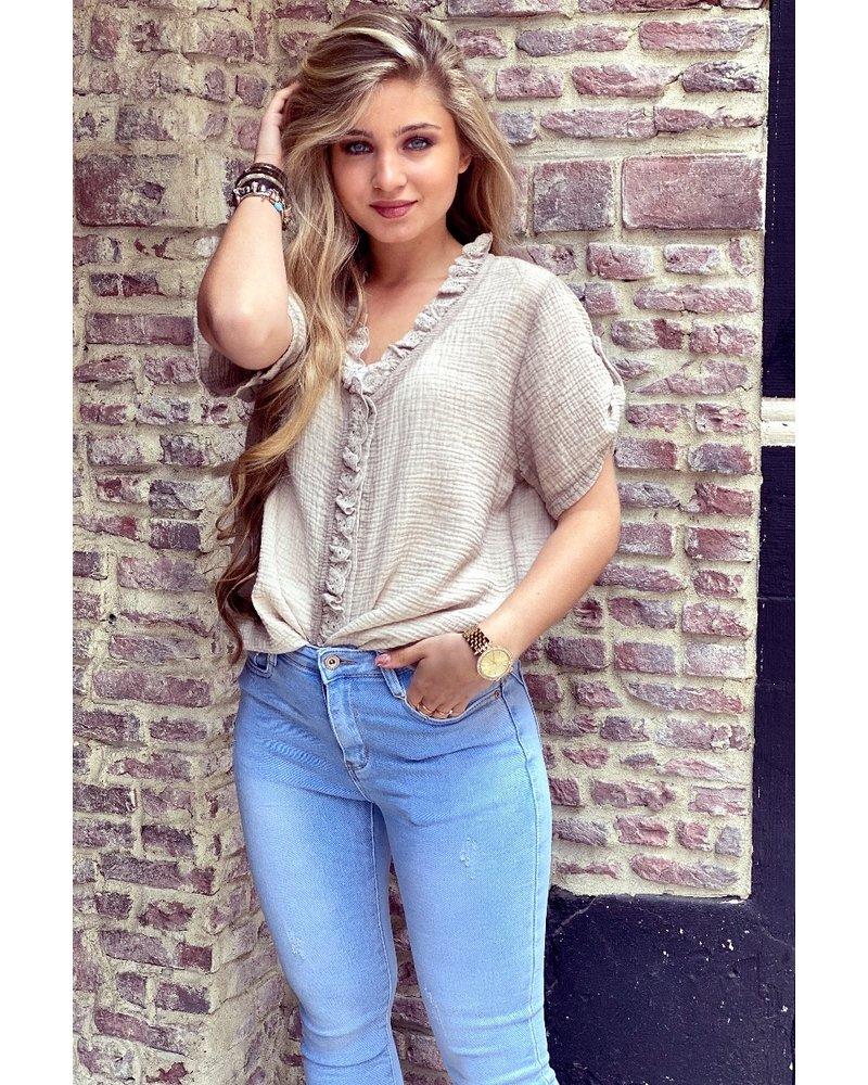 Estelle Short Sleeve Blouse - Beige