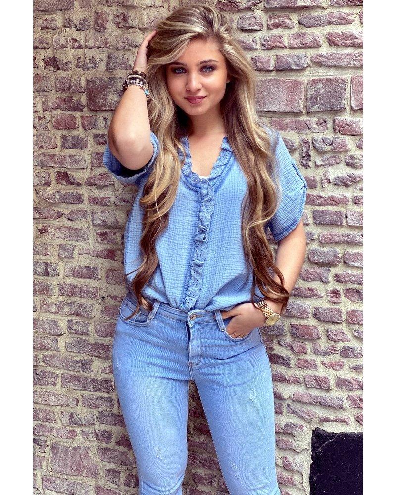 Estelle Short Sleeve Blouse - Blue