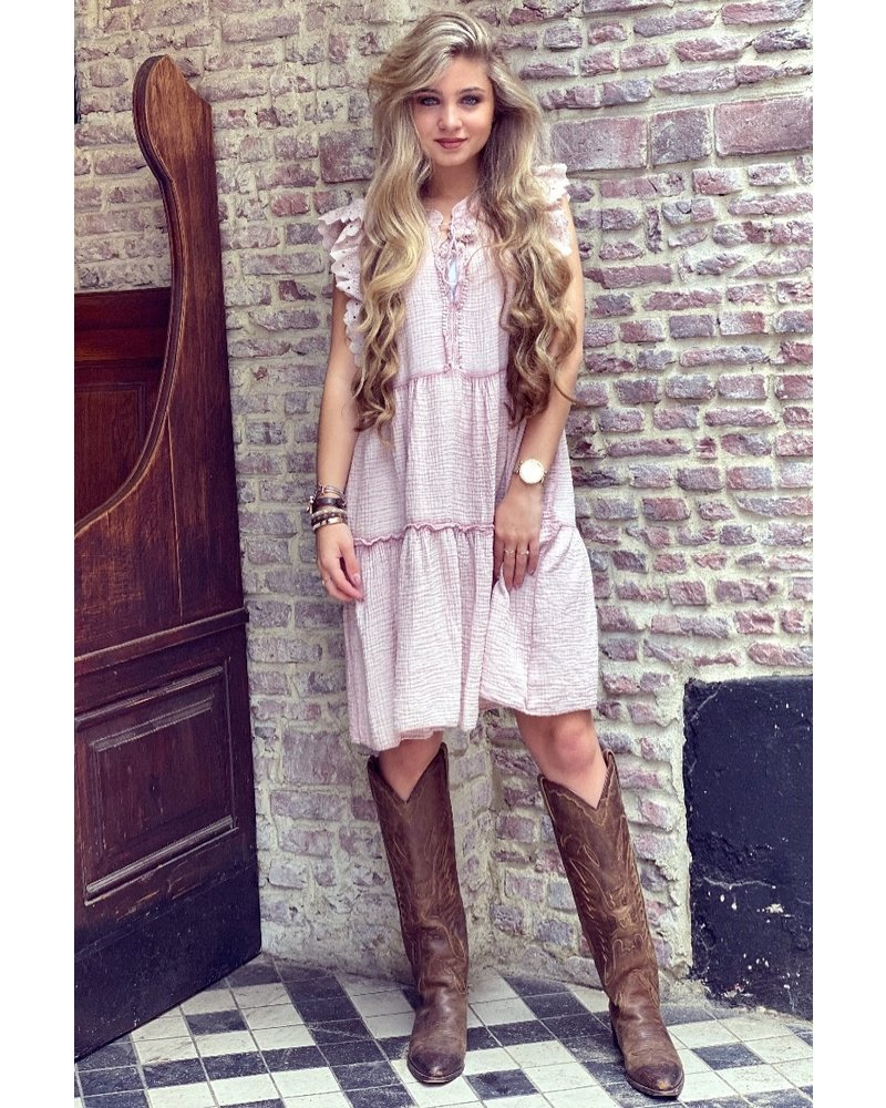 Teske Ruffle Dress - Pink