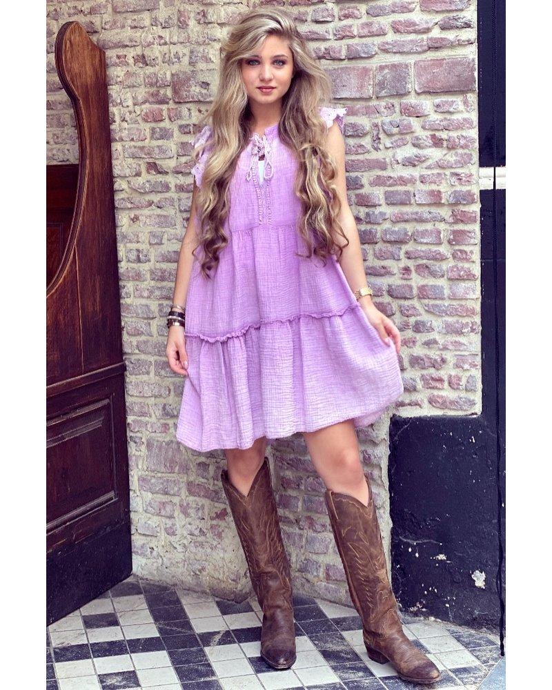 Teske Ruffle Dress - Purple