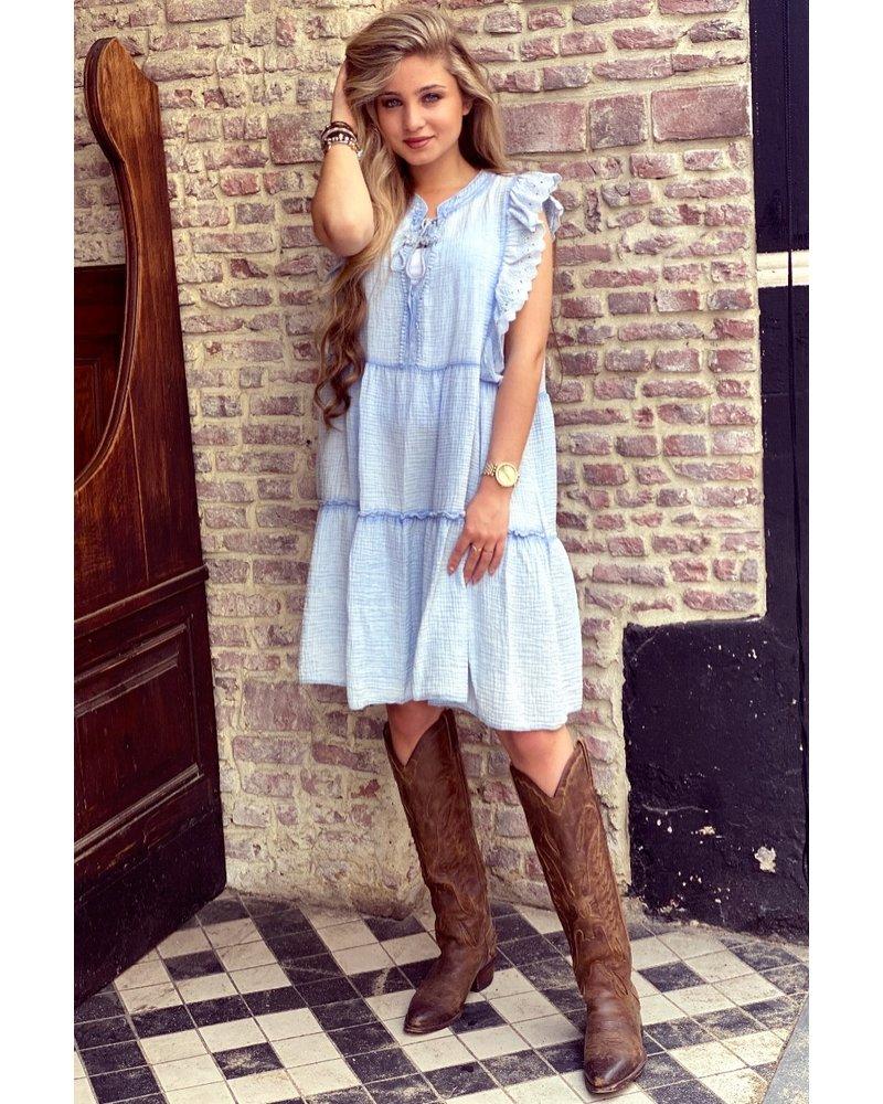 Teske Ruffle Dress - Blue