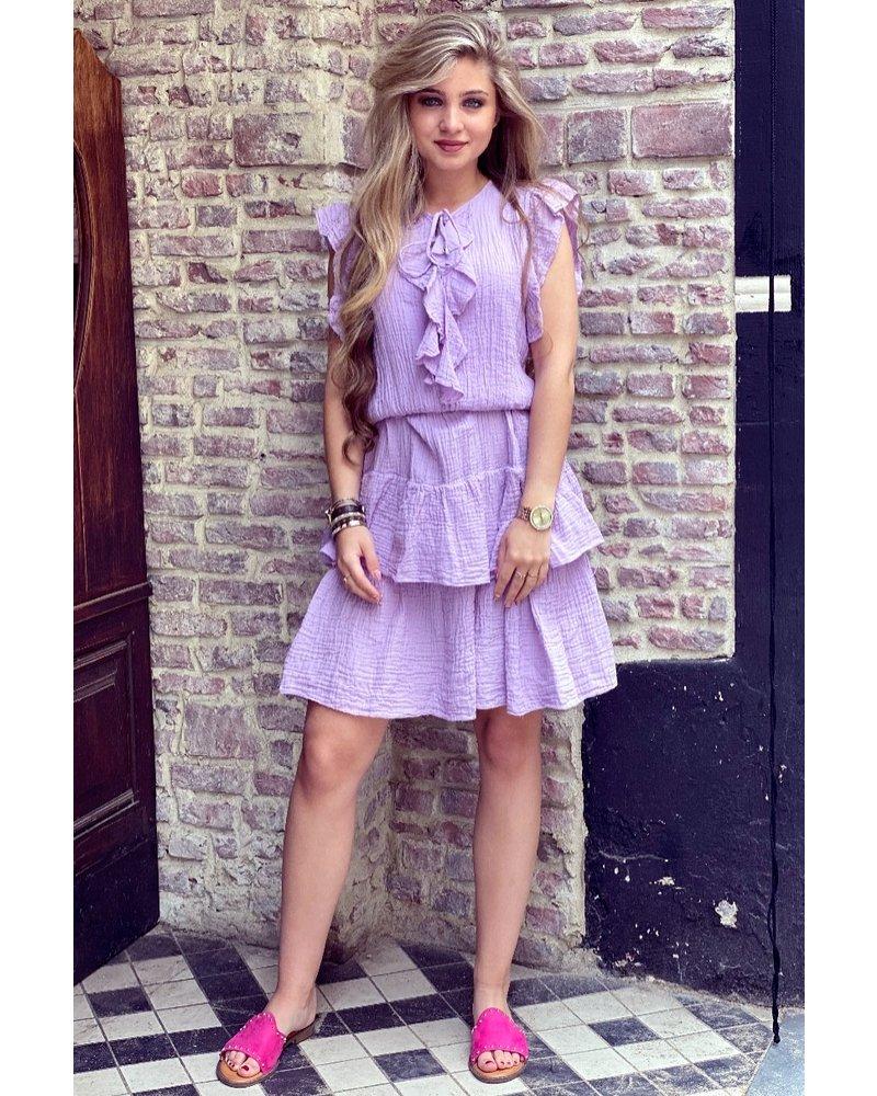 Fien Ruffle Dress - Purple