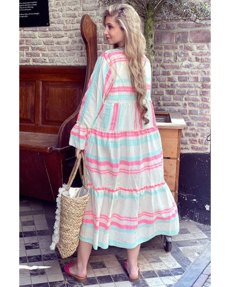 Noor Long Aztec Dress - Pink / Turquoise