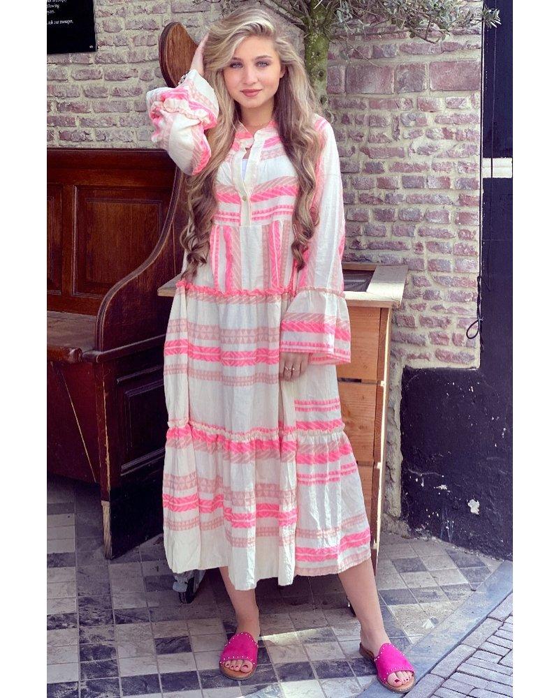 Noor Long Aztec Dress - Pink / Light Pink