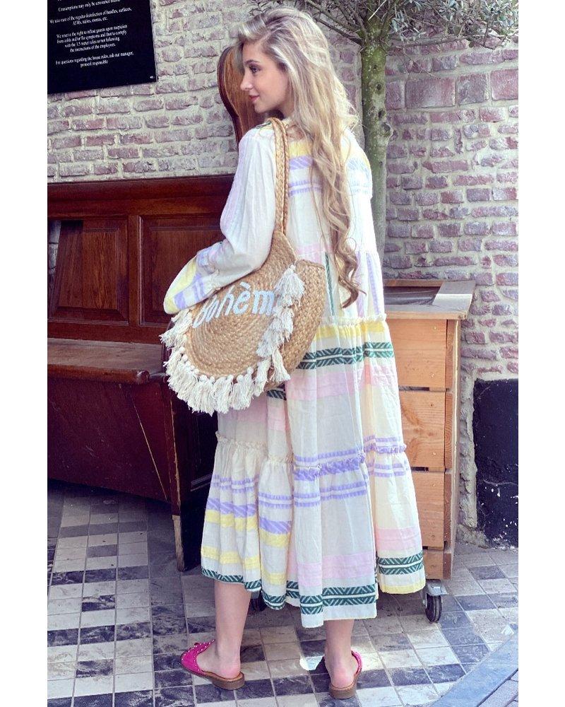 Noor Long Aztec Dress - Yellow / Lilac