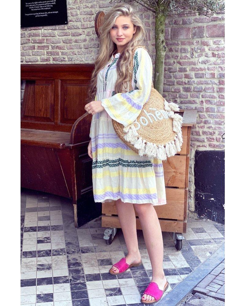 Noor Short Aztec Dress - Yellow / Lilac