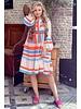 Noor Short Aztec Dress - Blue / Orange