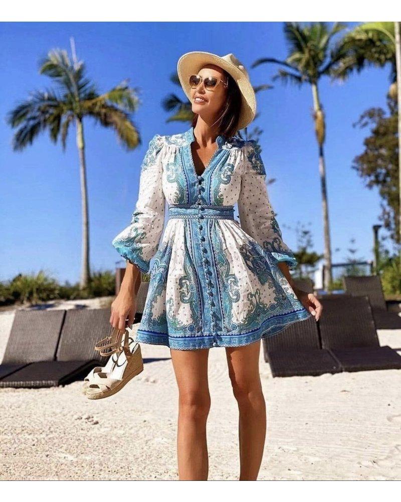 Santorini Summer Dress - White/Blue