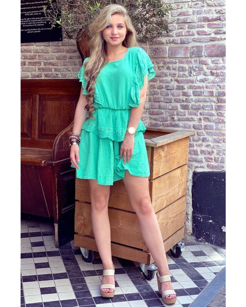 Jane Ruffle Dress - Green