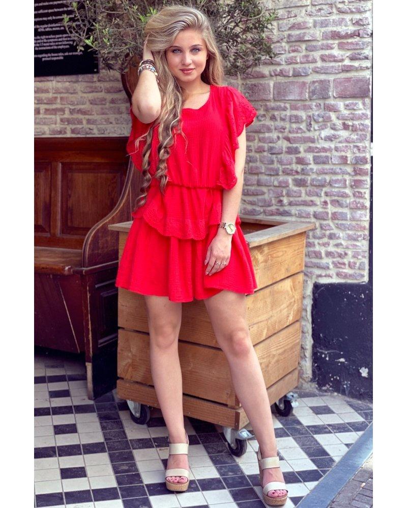 Jane Ruffle Dress - Coral Red