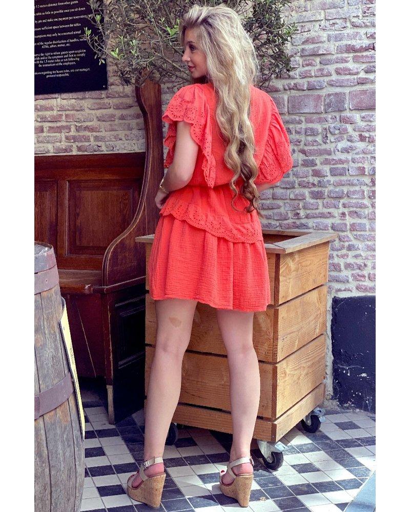 Jane Ruffle Dress - Peach