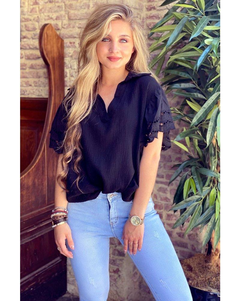 Oversized Lace Blouse - Black