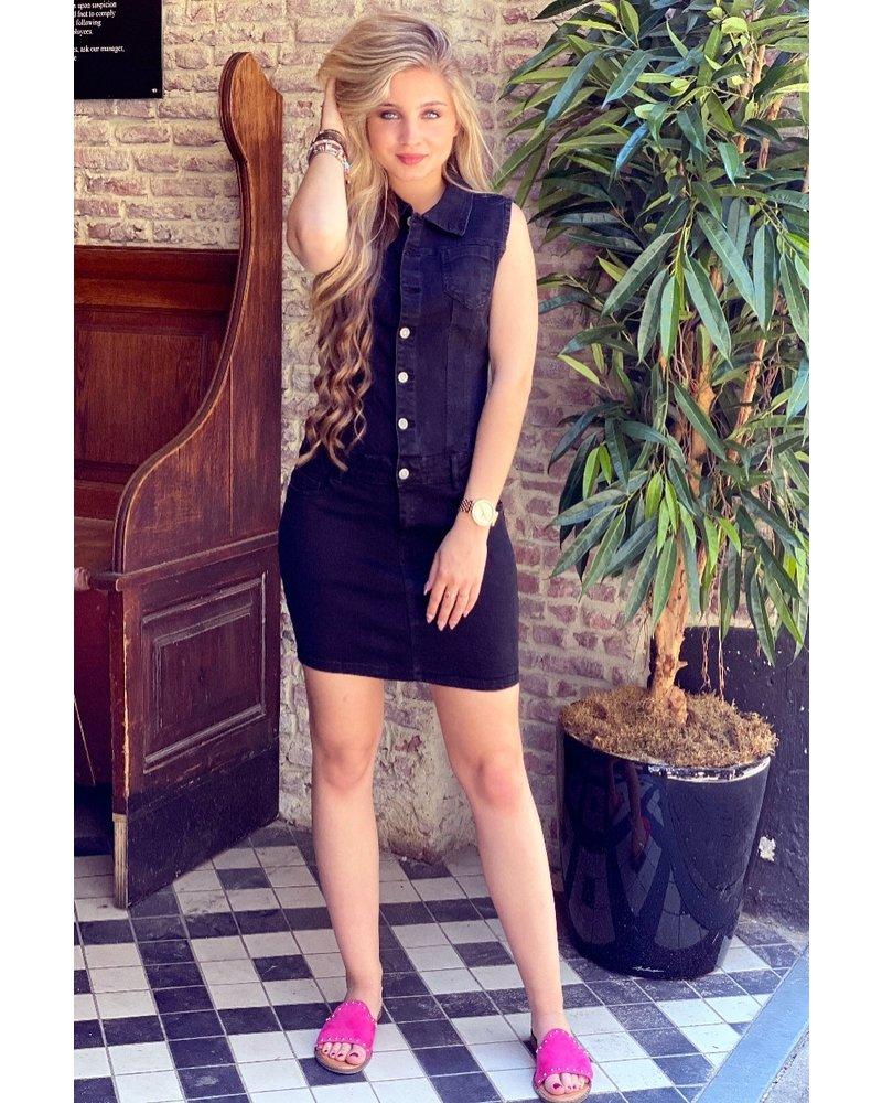 Lua Sleeveless Denim Dress - Black