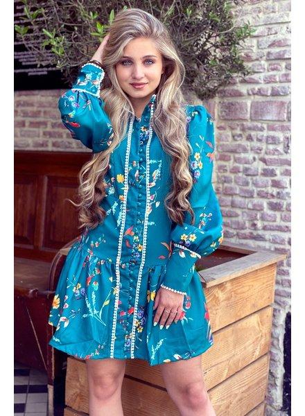 Spanish Summer Dress - Turquoise