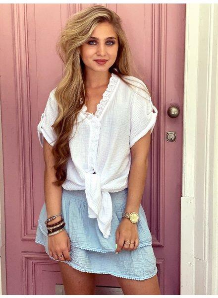 Isabel Ruffle Skirt - Light Blue