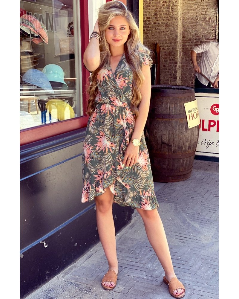 Fenne Short Flower Dress - Army Green/ Pink  (PRE-ORDER)