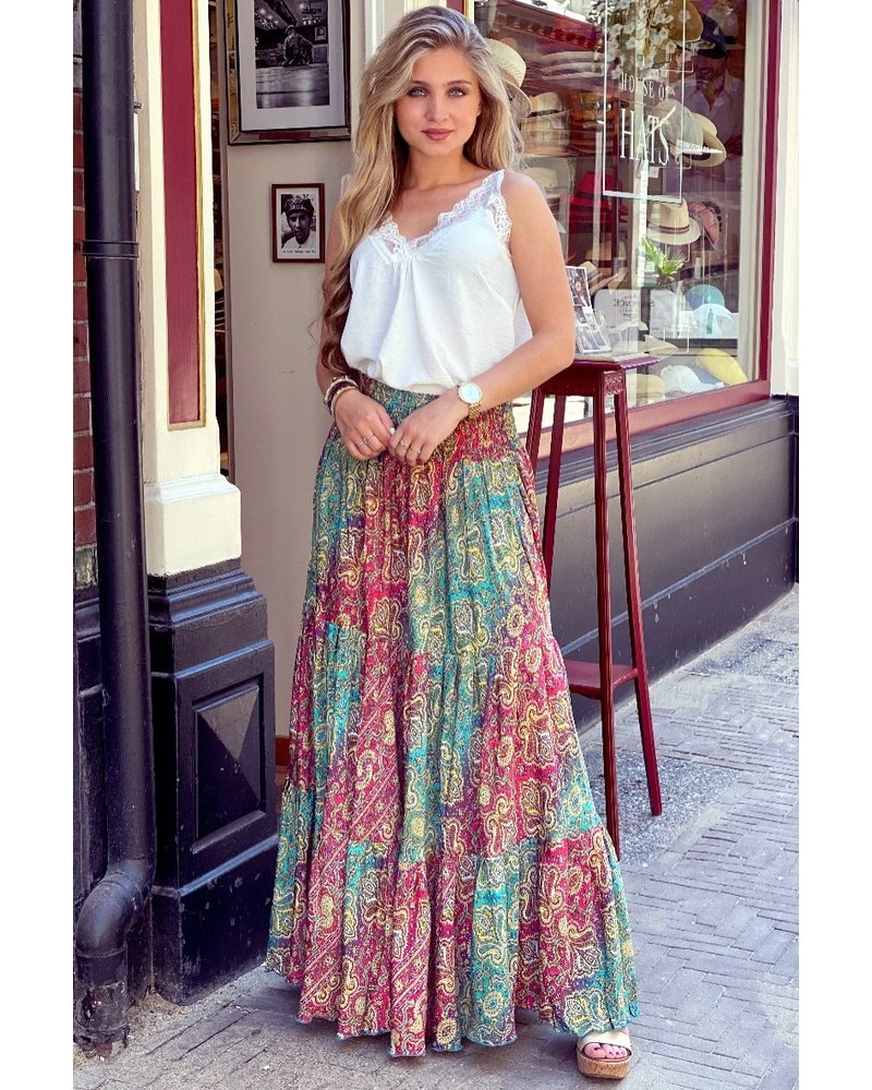 Amber Maxi Skirt - Purple/ Fuchsia/ Blue