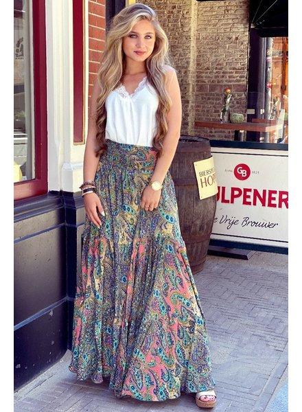 Amber Maxi Skirt - Brown/ Blue/ Pink
