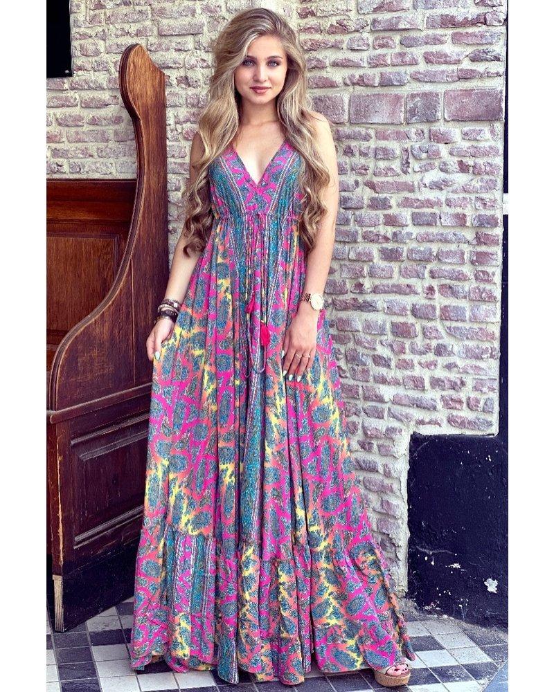 Chayenne Maxi Dress - Fuchsia/ Blue/ Yellow