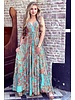 Chayenne Maxi Dress - Turquoise/ Orange/ Pink