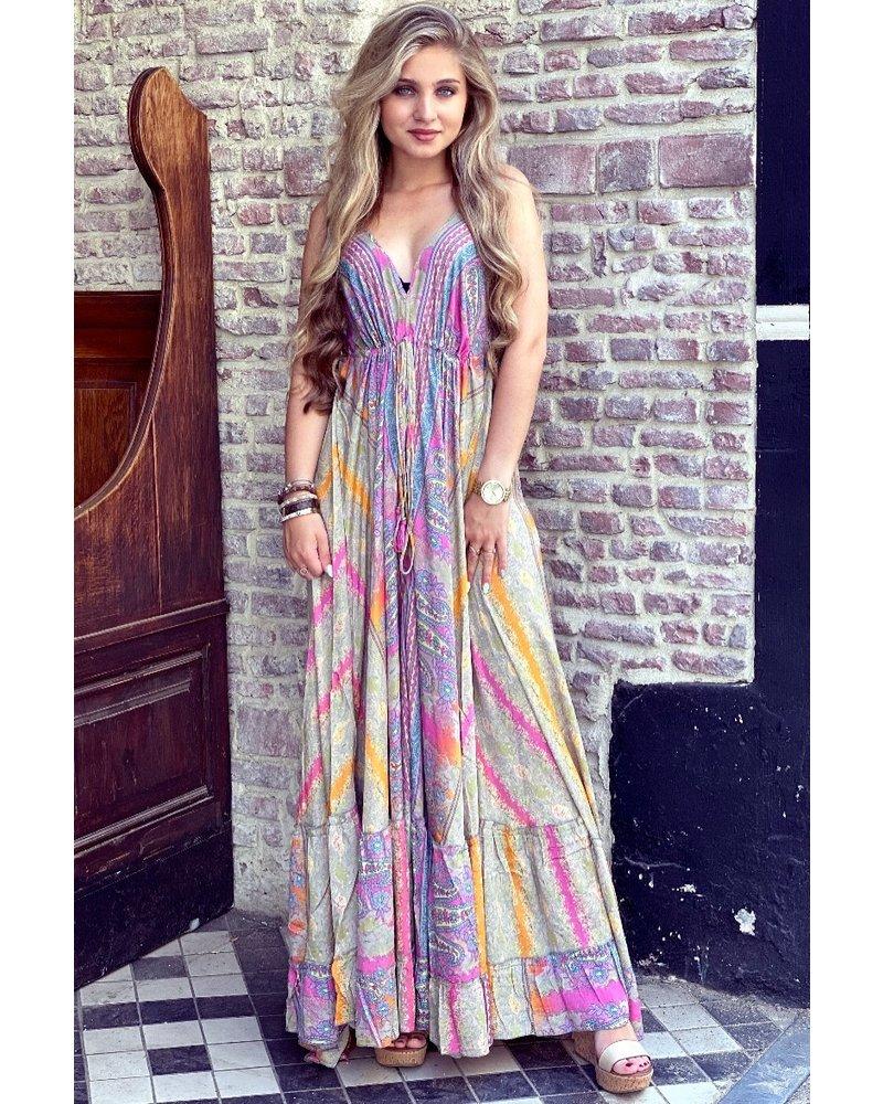 Chayenne Maxi Dress - Taupe/ Orange/ Pink