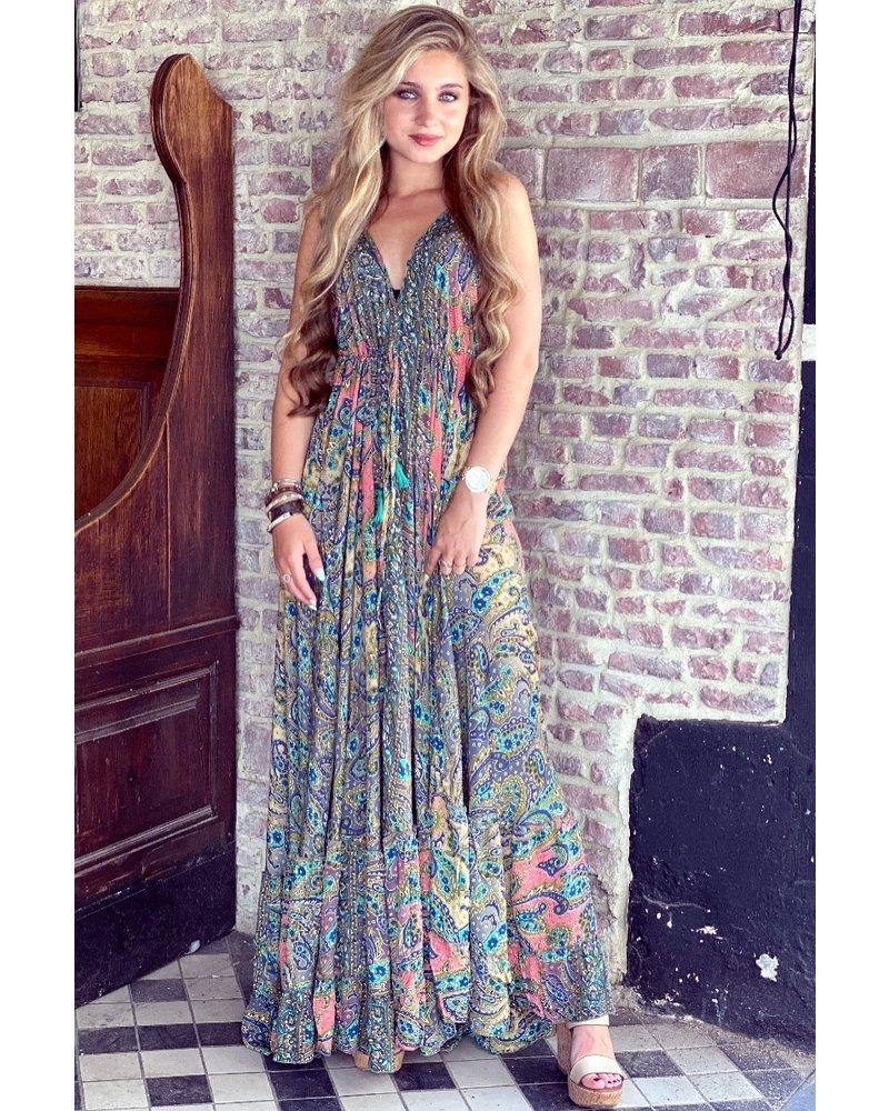 Chayenne Maxi Dress - Green/ Navy/ Pink