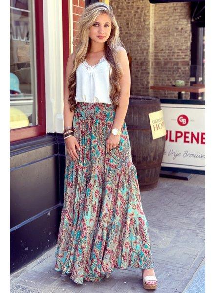Amber Maxi Skirt - Grey/ Blue/ Pink