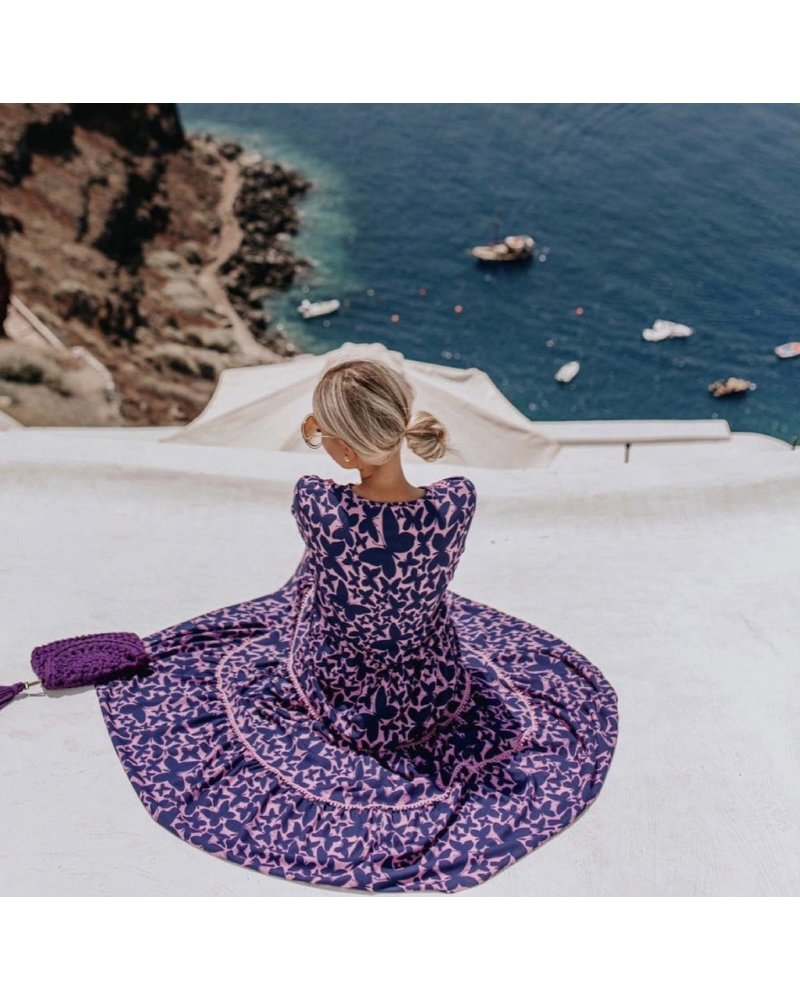 Maria Butterfly Maxi Dress - Pink/Navy PRE-ORDER