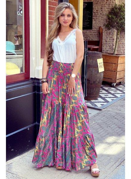 Amber Maxi Skirt - Fuchsia/Yellow
