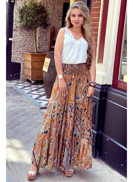 Amber Maxi Skirt - Grey/Black/Orange